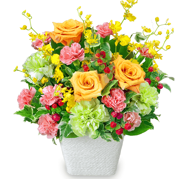 【お祝い】オレンジバラの華やかアレンジメント