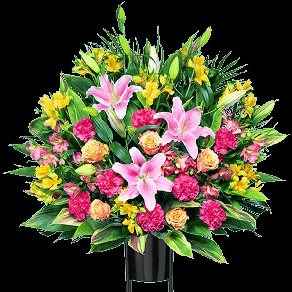【スタンド花・花輪(開店祝い・開業祝い)】スタンド花お祝い2段(ミックス)