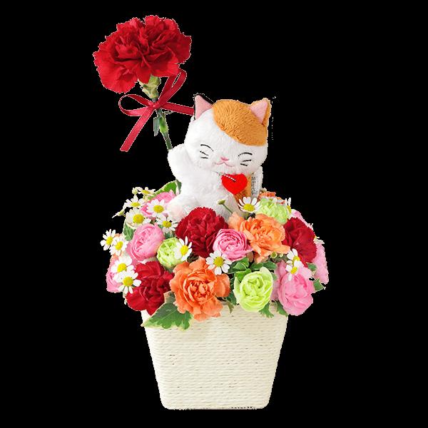 三毛猫のマスコット付きアレンジメント
