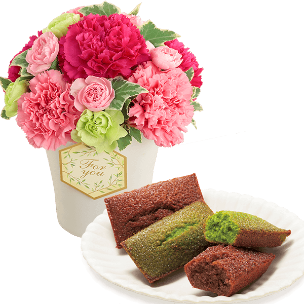 グラマラス(ピンク)と米粉のフィナンシェ(抹茶・ショコラ)
