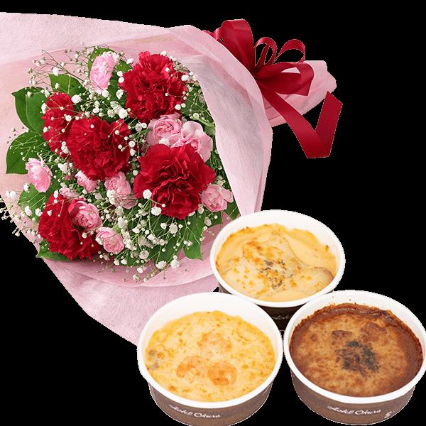 カーネーションの花束と【ホテルオークラ】ドリア&グラタン 詰め合わせ