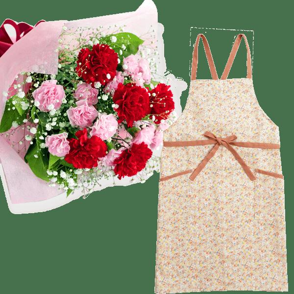 【母の日 ありがとうギフトセット】カーネーションの花束とフラワーエプロン