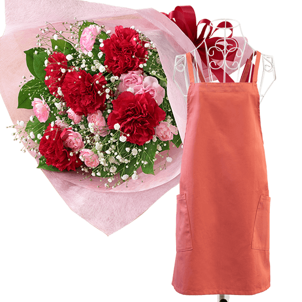 カーネーションの花束と母の日ギフト エプロン(巾着付き)
