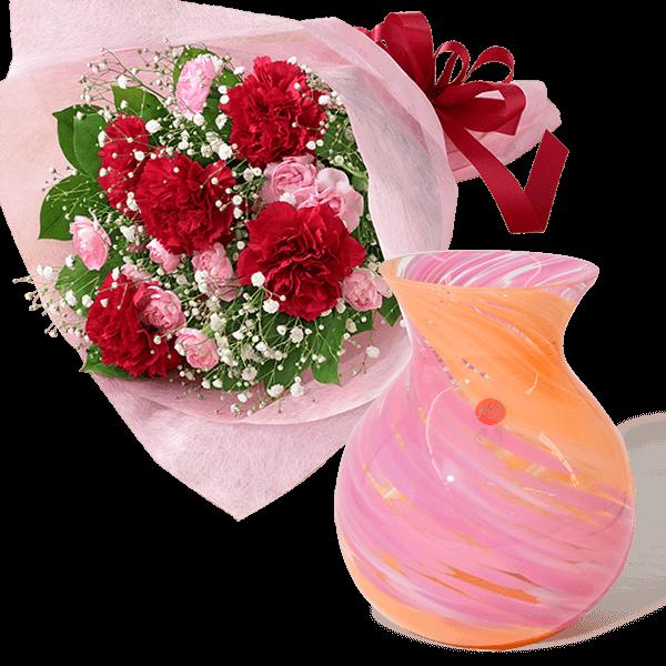 カーネーションの花束と津軽びいどろ ブーケポット