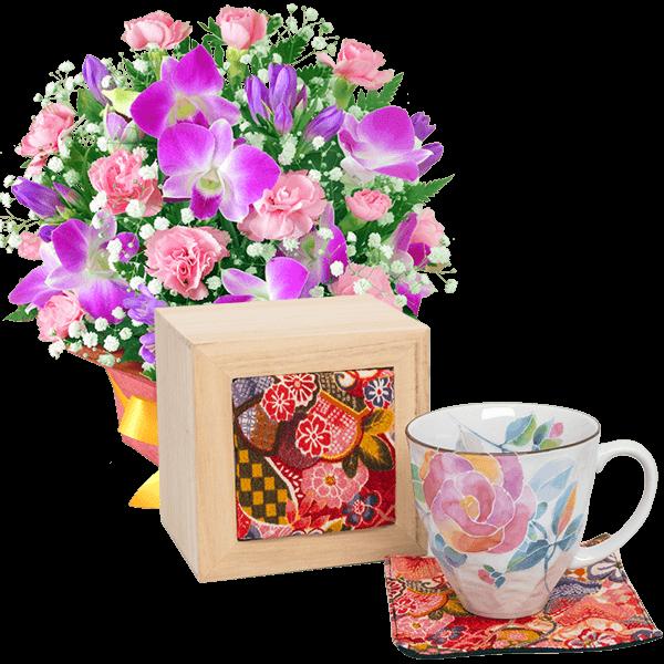 ピンクデンファレのアレンジメントと花ことばマグカップ バラ(ちりめん木箱)