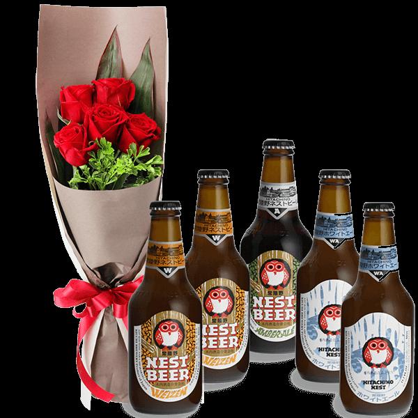 【お祝いセットギフト】赤バラ5本の花束と常陸野ネストビール飲み比べ5本セット