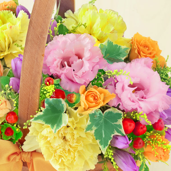 【敬老の日フラワー】リンドウのハーモニーバスケットカラフルな色合いが敬老の日に元気をお届けします