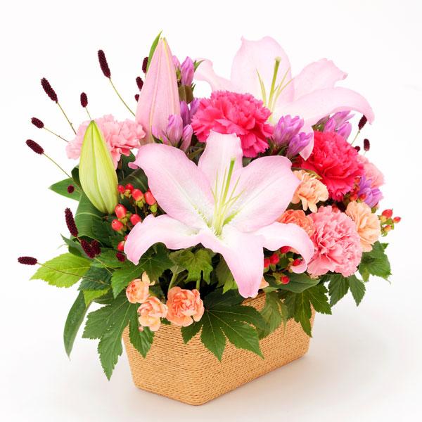 【敬老の日フラワー 遅れてごめんね】ユリとリンドウの鮮やかアレンジメント立派なピンクのユリが美しいアレンジメント