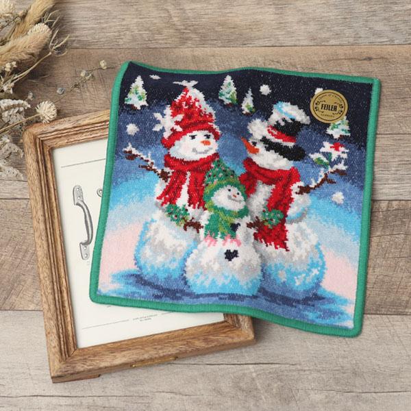 雪だるまの家族のハンカチ|花キューピットのクリスマスプレゼント特集2019