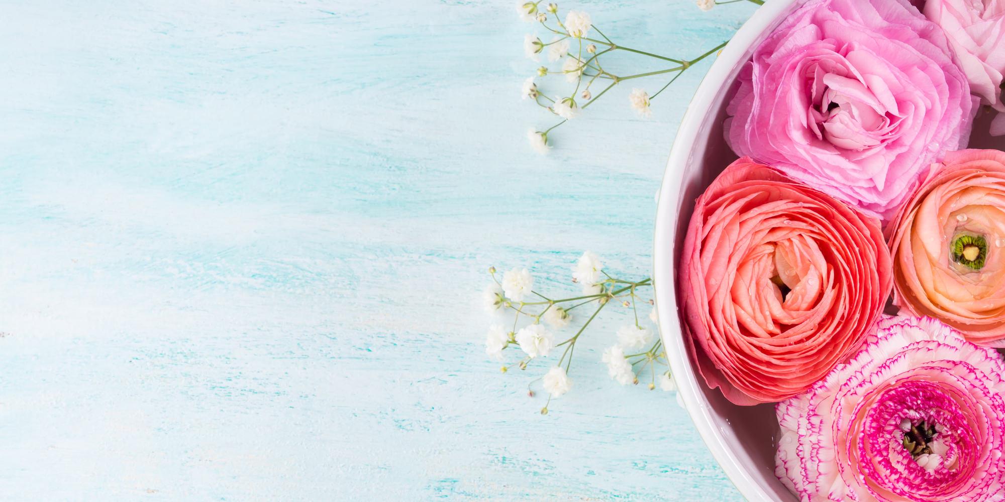 慎ましやかなカスミソウや、まんまるラナンキュラスも4月の誕生花